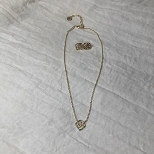 Kendra Scott Gold Matching Necklace and Earrings